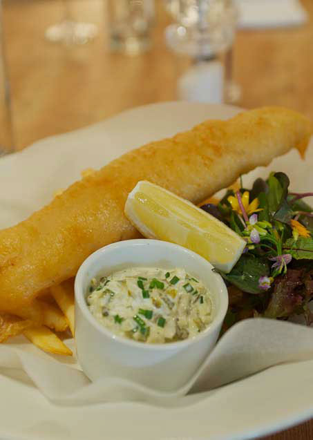 Fish and chips at the Raglan Arms, llandenny, Usk, Monmouthshire